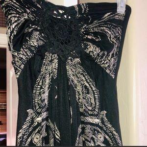 SKY brand maxi dress black white strapless small